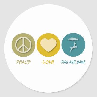 Peace Love Fish and Game Round Stickers