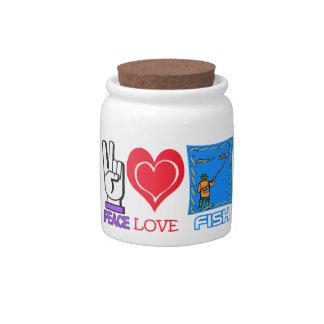 PEACE LOVE FISH CANDY JAR