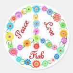 Peace Love Fish Classic Round Sticker