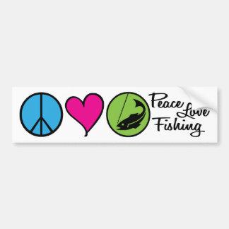 Peace Love Fishing Bumper Sticker