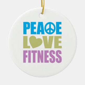 Peace Love Fitness Ceramic Ornament