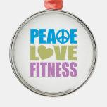 Peace Love Fitness Christmas Ornaments