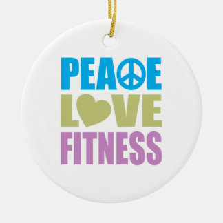 Peace Love Fitness Double-Sided Ceramic Round Christmas Ornament
