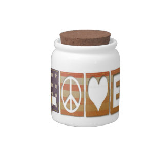 Peace ~ Love Flag Design Candy Dish