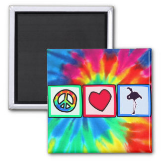 Peace, Love, Flamingos 2 Inch Square Magnet