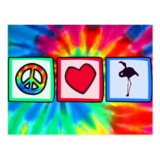 Peace, Love, Flamingos Postcard