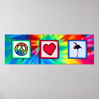 Peace, Love, Flamingos Posters