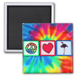 Peace, Love, Flamingos Refrigerator Magnets