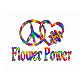Peace Love Flower Power Postcard