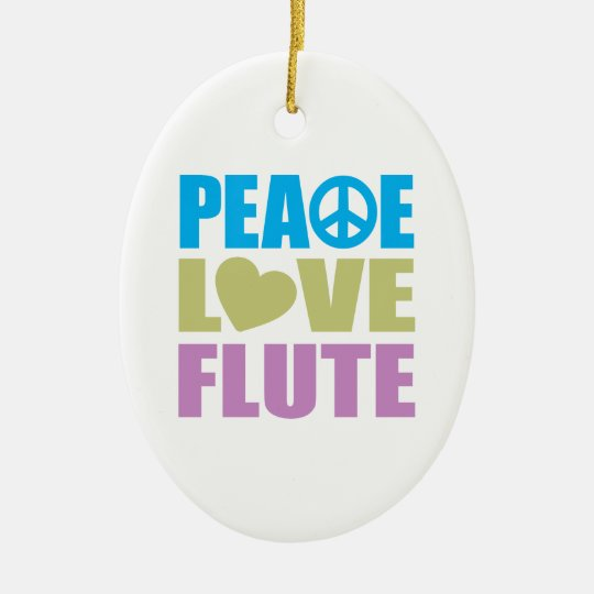 Peace Love Flute Ceramic Ornament