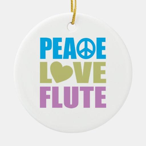 Peace Love Flute Christmas Tree Ornaments