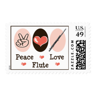 Peace Love Flute Postage Stamps