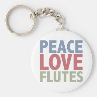 Peace Love Flutes Keychain