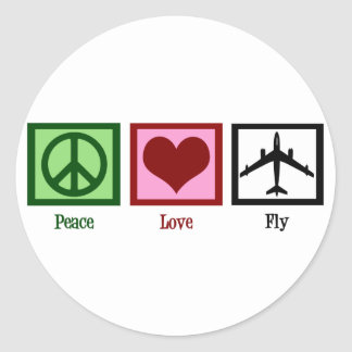 Peace Love Fly Classic Round Sticker