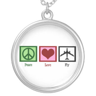 Peace Love Fly Round Pendant Necklace
