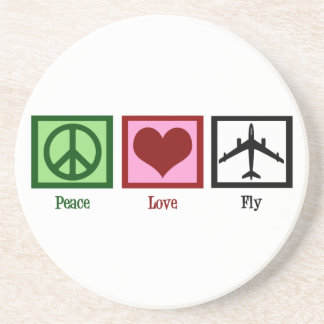 Peace Love Fly Sandstone Coaster