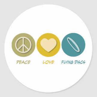 Peace Love Flying Discs Round Sticker
