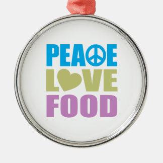 Peace Love Food Metal Ornament