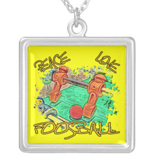 Peace Love Foosball Silver Plated Necklace