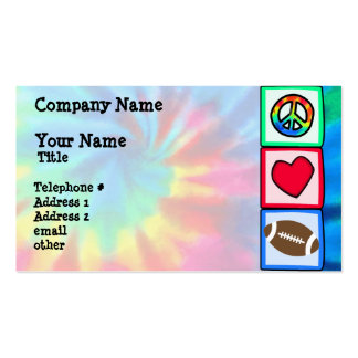 Peace, Love, Football Double-Sided Standard Business Cards (Pack Of 100)