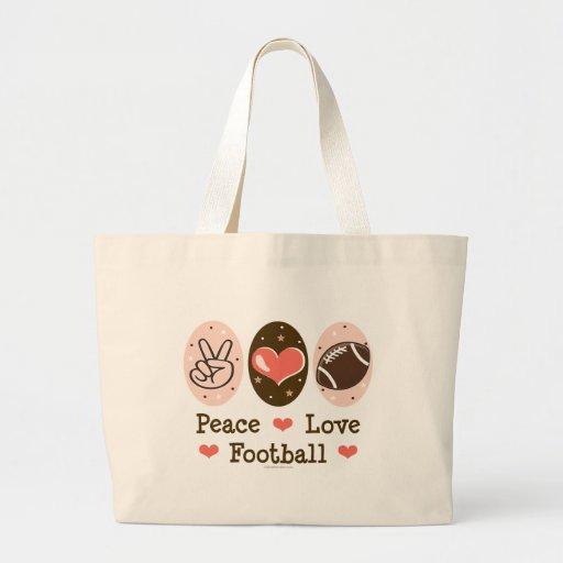 Peace Love Football Canvas Tote Bag
