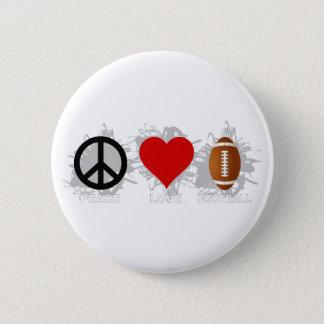 Peace Love Football Emblem Button