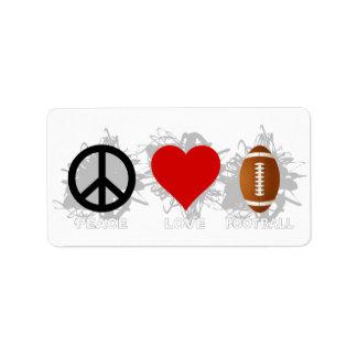 Peace Love Football Emblem Label