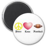 Peace, Love, Football Fridge Magnet