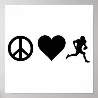 Peace Love Football Poster