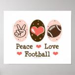 Peace Love Football Poster Print