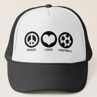 Peace Love Football (soccer) Trucker Hat