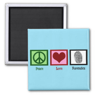 Peace Love Forensics 2 Inch Square Magnet