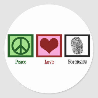 Peace Love Forensics Classic Round Sticker