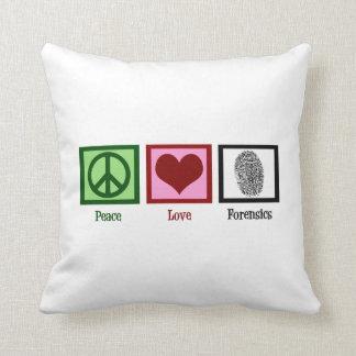 Peace Love Forensics Throw Pillow