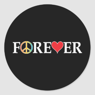 Peace Love Forever Classic Round Sticker