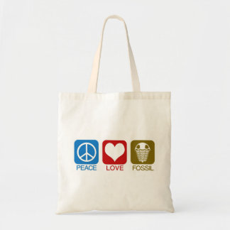 PEACE, LOVE, FOSSIL TOTE BAG