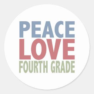 Peace Love Fourth Grade Classic Round Sticker