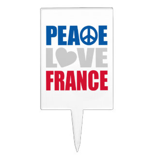 Peace Love France Cake Toppers