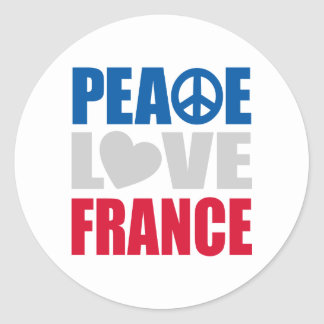Peace Love France Round Sticker