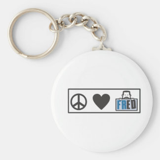 Peace Love Fred Basic Round Button Keychain
