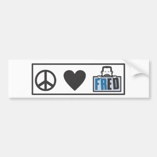 Peace Love Fred Car Bumper Sticker