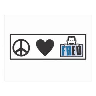 Peace Love Fred Postcard