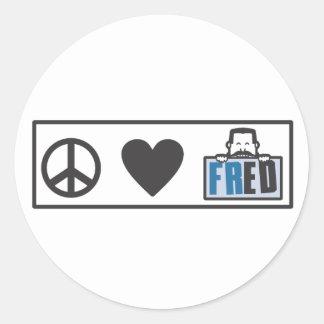 Peace Love Fred Round Sticker