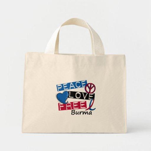 PEACE LOVE FREE Burma T-Shirts & Apparel Canvas Bag