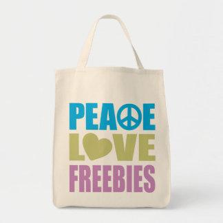 Peace Love Freebies Grocery Tote Bag