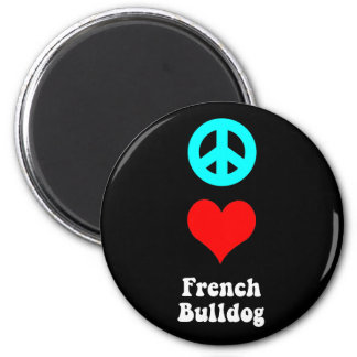 Peace love French Bulldog 2 Inch Round Magnet