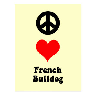 Peace love French Bulldog Postcard