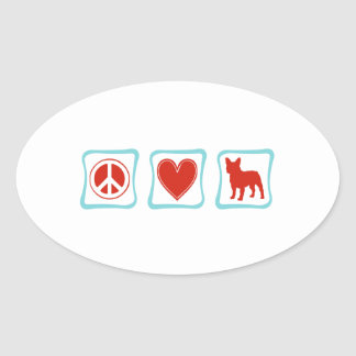 Peace Love French Bulldogs Squares Oval Sticker