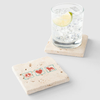 Peace Love French Bulldogs Squares Stone Coaster