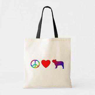 Peace Love French Bulldogs Tote Bag
